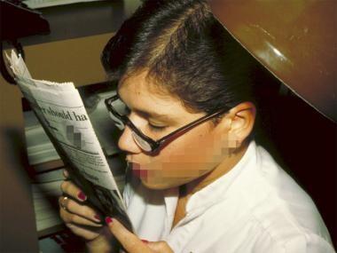 Prism half-eye reading glasses.