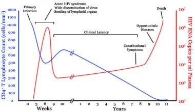 Timeline of CD4 T-cell and viral-load changes over
