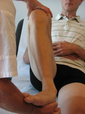 McMurray test: The lateral meniscus is tested by p
