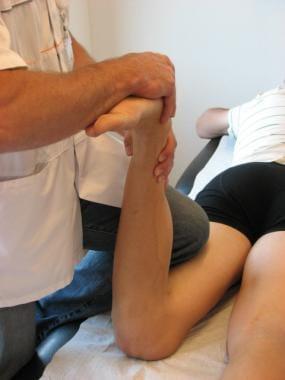 Apply test: The knee is passively flexed 90 degree