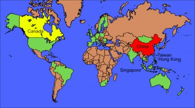 World map of severe acute respiratory syndrome (SA