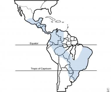 Approximate distribution of paracoccidioidomycosis
