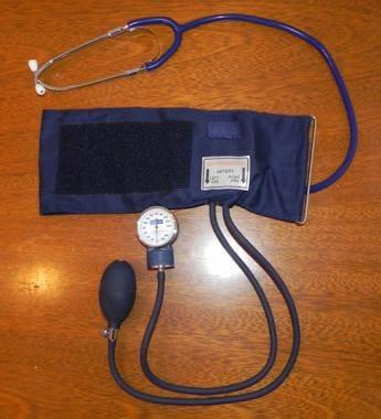 Standard aneroid blood pressure cuff and stethosco