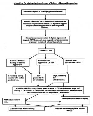 Algorithm for distinguishing subtypes of primary a