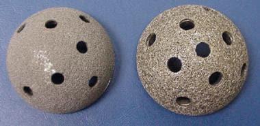 Metallic alloys. Tantalum (left) and titanium (rig