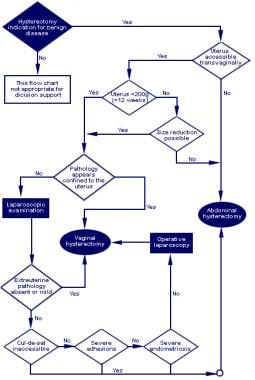 Algorithm for selecting route of hysterectomy.
