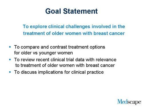 Breast Cancer in Older Women Slides With Transcript – Goal Statement