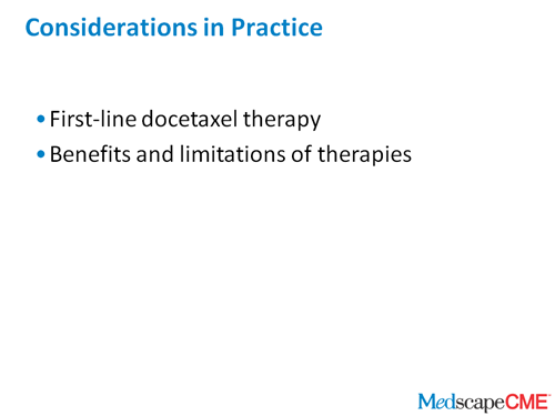 Emerging Therapies For Castration Resistant Prostate