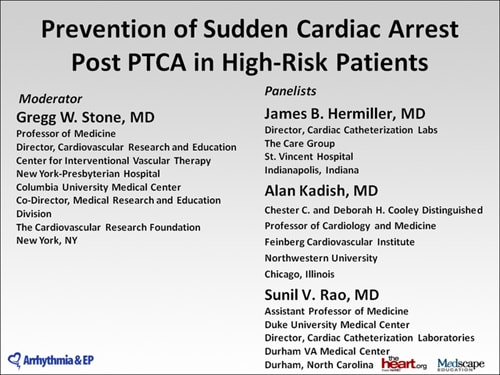 Prevention of Sudden Cardiac Arrest Post PTCA in High-Risk Patients