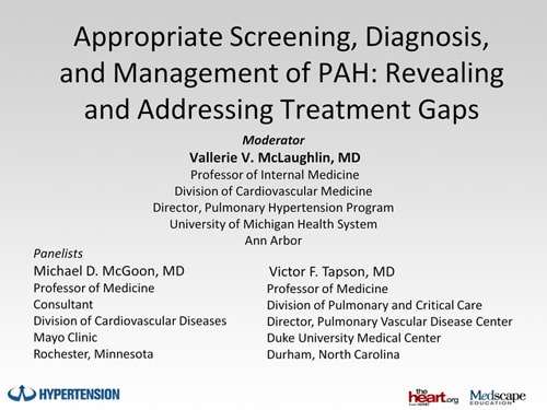 Appropriate Screening, Diagnosis, and Management of PAH