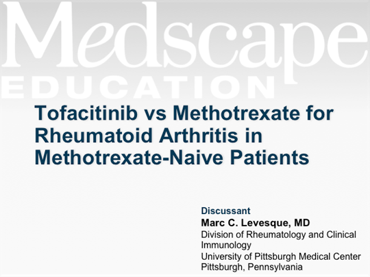 Tofacitinib vs Methotrexate for Rheumatoid Arthritis in