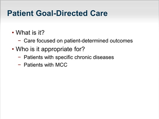 Patient Goal-Directed Care for Older Adults With Multiple