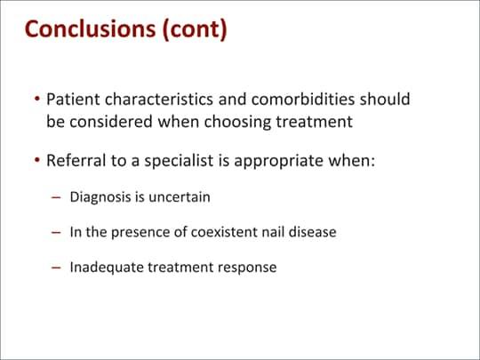 Onychomycosis treatment evaluation