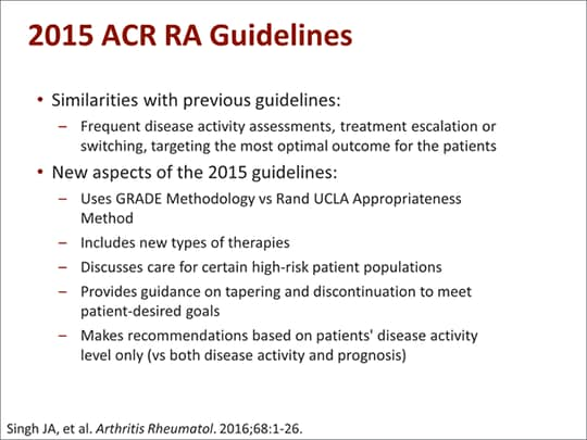 rheumatoid arthritis treatment guidelines 2015