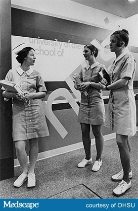 8b5326b9303 Students, being the youngest nurses, tended to push the fashion envelope  the furthest. At a time when short skirts were becoming more acceptable for  nurses, ...