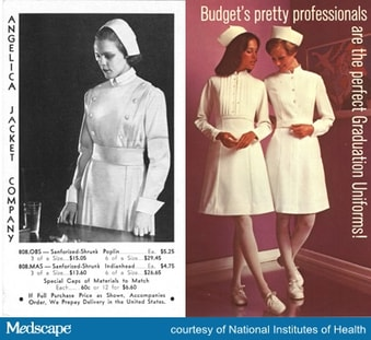 f946b717a61 Advertisements for graduate nurse uniforms. a. Angelica Jacket  Company,1934. b. Budget Uniform Centre, 1972. Images courtesy of the  National Library of ...