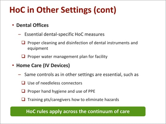 Infection Prevention: A Hierarchy of Controls Approach