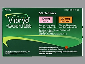 Viibryd 10 mg (7)-20 mg (23) tablets in a dose pack