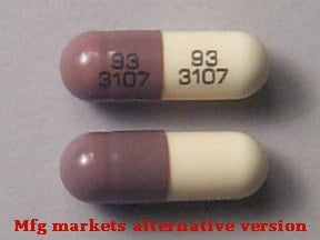 "This medicine is a caramel buff, oblong, capsule imprinted with ""93  3107"" and ""93  3107""."