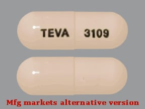"This medicine is a buff, oblong, capsule imprinted with ""TEVA"" and ""3109""."