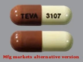 "This medicine is a caramel buff, oblong, capsule imprinted with ""TEVA"" and ""3107""."