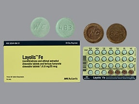 Layolis Fe 0.8 mg-25 mcg (24)/75 mg (4) chewable tablet