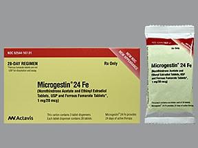 Microgestin 24 FE 1 mg-20 mcg (24)/75 mg (4) tablet