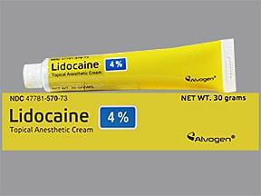 lidocaine 4 % topical cream