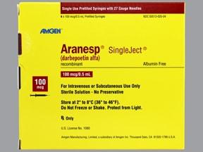 Aranesp 100 mcg/0.5 mL (in polysorbate) injection syringe