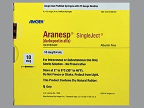 Aranesp 10 mcg/0.4 mL (in polysorbate) injection syringe
