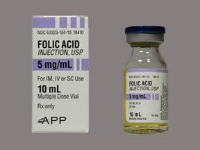 folic acid 5 mg/mL injection solution