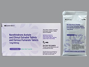 norethindrone 1 mg-e. estradiol 20 mcg (24)-iron 75 mg (4) chew tablet
