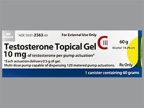 testosterone 10 mg/0.5 gram/actuation transdermal gel pump