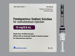 fondaparinux 10 mg/0.8 mL subcutaneous solution syringe