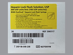 Heparin Lock Flush (Porcine) (PF) 100 unit/mL intravenous syringe