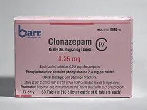 clonazepam 0.25 mg disintegrating tablet