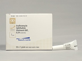 erythromycin 5 mg/gram (0.5 %) eye ointment