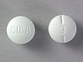 """This medicine is a pale green, round, partially scored, tablet imprinted with """"CIBA"""" and """"3""""."""