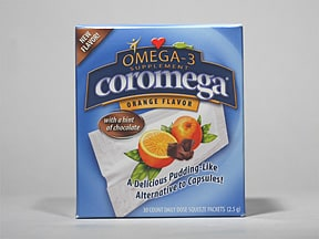 Coromega 2,000 mg-650 mg-12 mg/2.5 gram oral packet