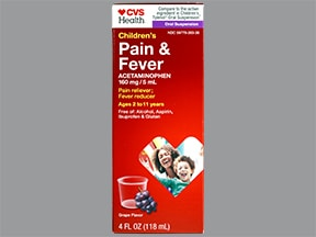 Children's Pain and Fever Relief 160 mg/5 mL oral suspension