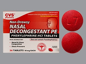 Nasal Decongestant (phenylephrine) 10 mg tablet