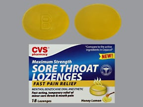 Sore Throat (benzocaine with menthol) 15 mg-2.6 mg lozenges