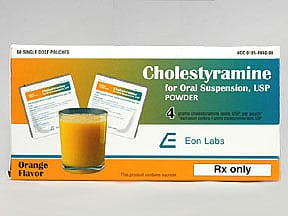 cholestyramine (with sugar) 4 gram powder for susp in a packet