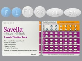 Savella 12.5 mg (5)-25 mg(8)-50mg(42) tablets in a dose pack