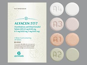 Alyacen 7/7/7 (28) 0.5 mg/0.75 mg/1 mg-35 mcg tablet