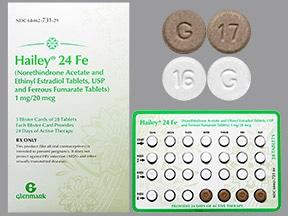 Hailey 24 Fe 1 mg-20 mcg (24)/75 mg (4) tablet