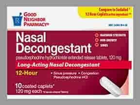 12 Hour Nasal Decongestant (PSE) 120 mg tablet,extended release