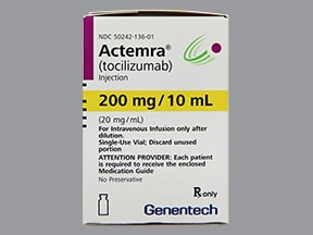 Actemra 200 mg/10 mL (20 mg/mL) intravenous solution
