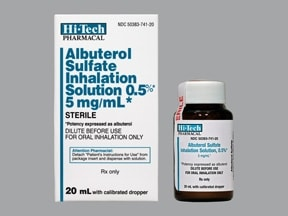 albuterol sulfate concentrate 5 mg/mL(0.5 %) solution for nebulization