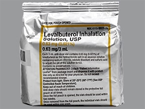 levalbuterol 0.63 mg/3 mL solution for nebulization